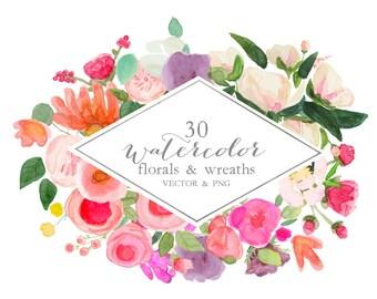 Watercolor floral wreath clipart, watercolor floral bouquet, hand painted, flower clip art, VECTOR, PNG, flowers digital clipart,  florals