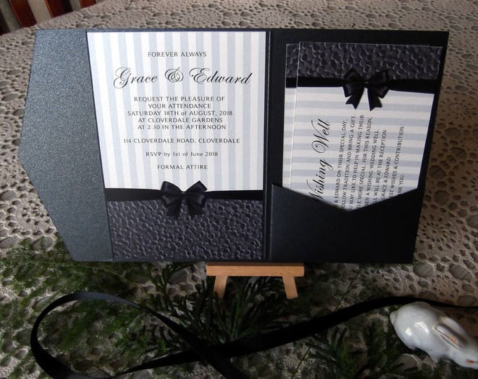 High Class Formal Wedding Invitation Package, Pocket Folds, RSVP, Wishing Wells, Envelopes. Invitation Suite / Set #WeddingInvites