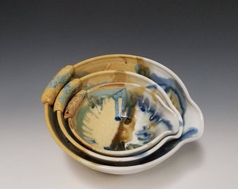Handmade ceramic batter bowl set #1029