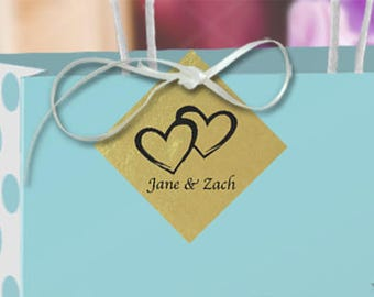 """Gold Foil Coupled Hearts Gift Tags personalized with FREE 12"""" White Satin Ribbon, favor tags, wedding gift tag, hang tag"""
