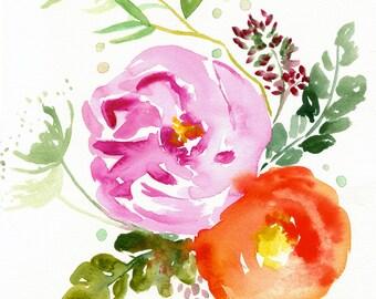 Eva - Floral Illustration - Art Watercolor - Summer - Large Print 16x16 - Poster - Wall Art - Wall Decor
