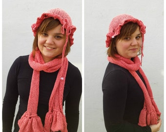 Pink cotton scarf and hat with ruffles and bows, cotton scarf, pink scarf, pink hat, cotton, ruffled scarf, pink ruffled scarf, romantic set