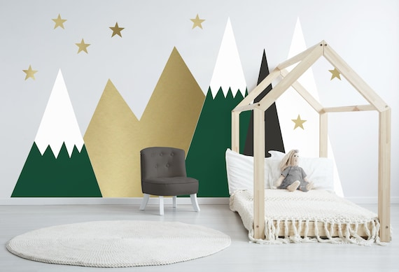 Mountains Wall Decal Baby Room Decal Nursery Toddler Kids Boys Room Decor Custom Dark Hunter Green Headboard Wall Sticker #mountains002