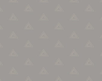 Prisma Elements Marble Shadow Metallic cotton fabric - Art Gallery - triangle fabric, modern blender, grey, geometric, metallic fabric