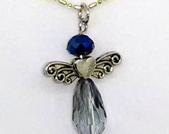 Blue Crystal Angel Pendant Necklace
