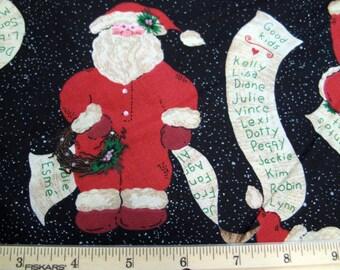 Fat Quarter Santa coquine belle liste «Liste des bons enfants» nouveauté tissu caleçon Union costume Allover Black avec des petites taches des flocons de neige - POO