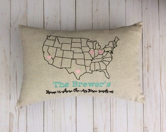 United States US Map Outline Military Pillow Air Force Army Marines Navy PCS Pillow Military Life Custom Embroidered Pillow