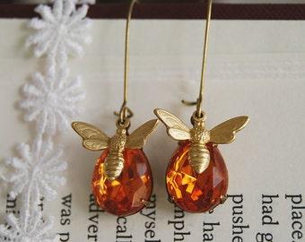 Bee Earrings. Bee and Honey Drop Earrings. Swarovski Topaz Teardrop Glass Jewel Brass Honey Bee Earrings. mothers day gift, gift for mom