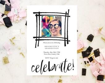 Celebration party invitation, printable invitation template, wedding, invitation templates, birthday, pdf instant download, baby shower
