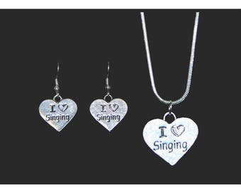 I Love Singing Necklace and Earring Set, Music Jewelry, Singing Jewelry, Sing Necklace, Sing Earrings, Music Necklace, Choir Jewelry