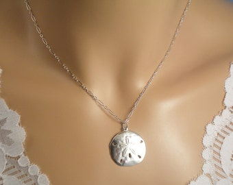 Sand Dollar Necklace, Large Sterling Silver Sand Dollar Necklace, Beach Wedding, Bridesmaid Gift