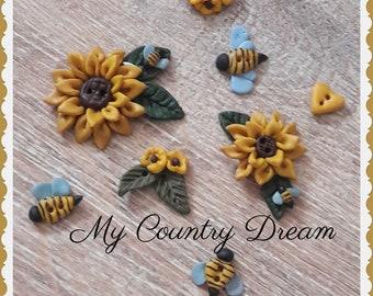 """Handmade Buttons """"Sunflowers"""" - set of 8 pcs."""