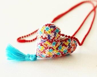 Tetris cross stitch necklace. Heartshaped pendant ball chain . Tassel Hand embroidered stuffed heart. Anniversary Birthday gift (1pc)
