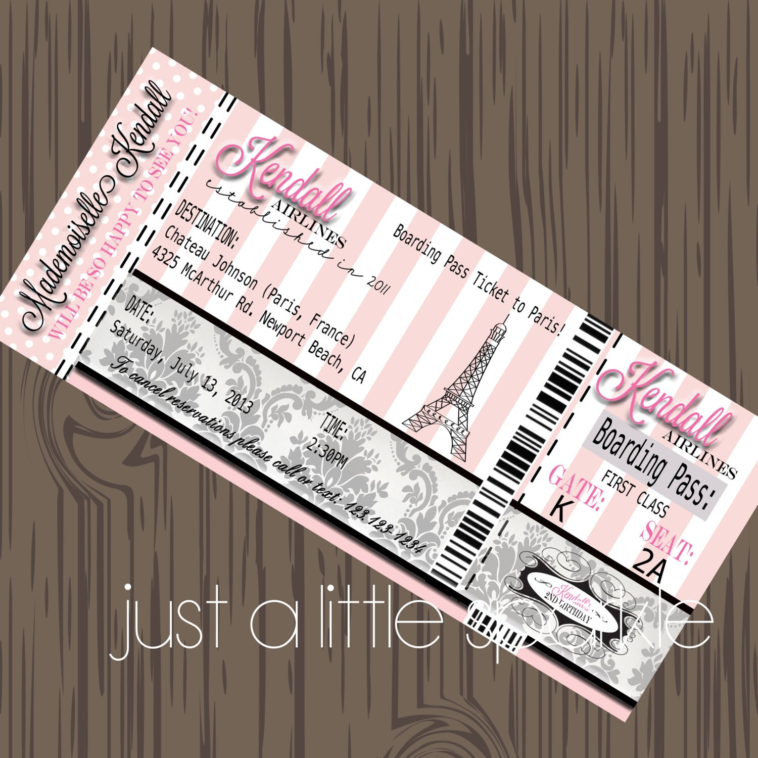 Paris Boarding Pass Invitation DIY Boarding Pass invite