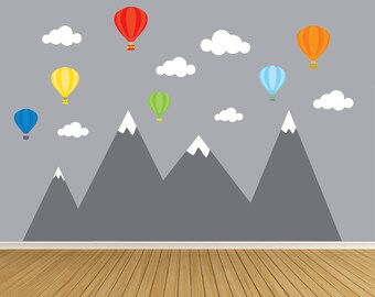 Hot Air Balloon with Mountain Wall Decal-Nursery Wall Decals-Kids Room Decor-Mountain Wall Decal Mural-Hot Air Balloon Wall Stickers