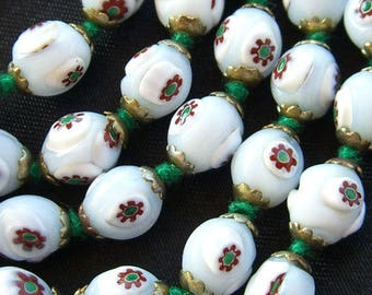 Millefiori Beads Necklace Murano Italy Vintage Venetian Millefiore Glass Beads Red White Green