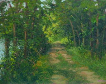 Oil Painting Original Landscape, Plein Air Painting – WALK THIS WAY by Jody Stephenson