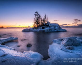 Lake Superior, Dawn, Winter Landscape, Nature Photography, Blue Hour, Ice, North Shore Minnesota, Fine Art Print, Blue Orange, Peaceful