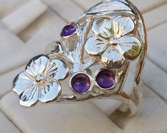 Flowers Silver Ring, Sterling Silver Ring, Multistone Gemstones Ring, Handmade Amethyst Ring, Statement Amethyst Ring, Mother's Day Gift