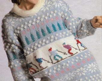 Instant PDF Digital Download, Vintage Knitting Pattern, Winter Snow Ski Sweaters, Family Jumpers, Picture Knitting, Printable, 1980's