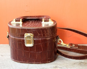 vintage box purse . round faux alligator purse by Tianni with long crossbody shoulder strap and top handle