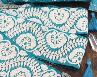 "Secret Garden: Teal & White Embroidered Silk Trim, Ribbon, Sari Border, India 3""x1 Yard, Floral Wedding, Garden Craft and Sewing Supplies"