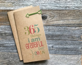 Gratitude Journal, Mindfulness Diary, Travelers Notebook, Midori Insert, Pocket Micro Passport A5 A6, Grateful, Faith, Blessed, Thankfulness