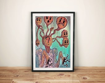 Monster Creature Surreal Horror Art - Original Painting - Thought Balloons