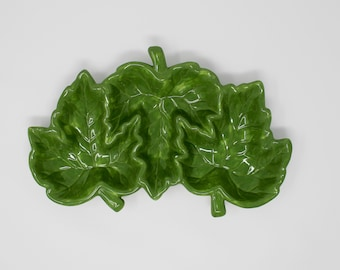 Dennis East Ceramic Green Leaf Serving Tray