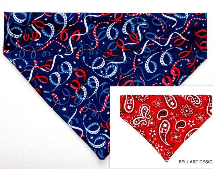 DOG BANDANA ~ Patriotic ~ Over the Collar ~ Reversible ~ Bell Art Designs ~ Medium ~ DCM0645