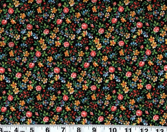 Calico Country Floral Navy  100% Quilting Cotton Vintage Looking Fabric, BTY #CF 12