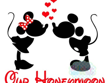 Our Honeymoon IRON ON TRANSFER-  Minnie Mouse - Mickey Mouse - Wedding - Bride - Groom
