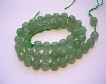 8mm faceted light green aventurine gemstone stone beads 15 inch strand 48 beads 1mm hole