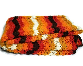 Crocheted Afghan 1970's Orange Rust Gold Yarn Couch Throw Blanket