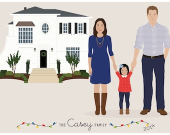 Custom Family and House Portrait, personalized family gift