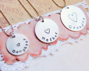 3 Generation Jewelry - Matching Set of Necklaces - For Daughter , Mother , Grandma - Family Sentimental - Heart - Pendant