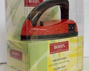 Mini iron folding pins / work patchwork, appliqué, bias seam allowances, weaving bag / travel iron - 75586