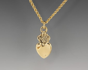 Gold Heart Necklace/ Handmade Heart Pendant/  One of a Kind Heart Necklace/ Heart Pendant/ Gold Heart/  Gift for Her/ Valentines Gift
