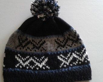 Black, navy, medium blue fairisle beanie,  ready to ship