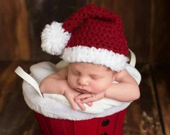 READY TO SHIP - Baby Santa Hat Crochet--Perfect Newborn Holiday Christmas Photo Prop