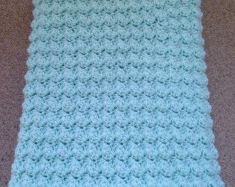 Crocheted Baby Blanket / Baby Afghan in Aqua