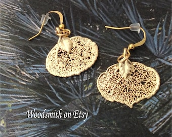 Real Leaves Jewelry, Gold  Aspen Leaf Earrings, choose adorable little leaves or BIG onestures leaves jewelry
