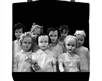 Doll Tote Bag Black White Purse Gift For Her Travel Tote Gift Under 40 Costume Market Shopping Bag Overnight Bag Girlfriend Gift