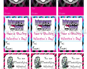 Monster High Printable Valentine's Cards