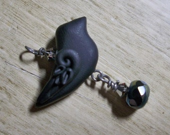 Detailed handmade Blackbird, Raven, Crow art bead pendant