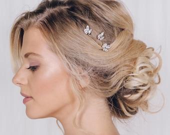 Swarovski hairpins, elegant hairpins, crystal wedding hair pins, classic hairpins, rose gold hairpins, gold or silver hair pins - Anya