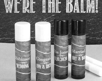 Wedding Favor Lip Balm, Black Chalkboard Personalized Lip Balm, Chalkboard Art - Set of 12