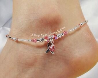 Anklet Ankle Bracelet, Breast Cancer Awareness Ribbon Anklet, Pink Anklet, Beach Anklet Dangle Anklet, Crystal Anklet, Beaded Anklet