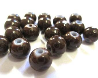 20 black, dark brown glass 6mm beads