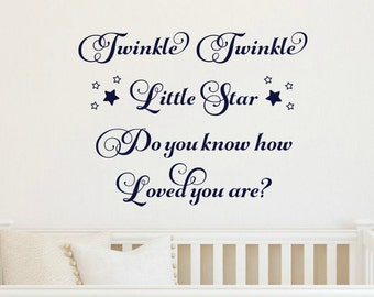 Twinkle Twinkle Little Star Decal Nursery Rhyme Wall Decal Nursery Wall Decal Baby Wall Decal Stars Decal Childrens Bedroom Decal